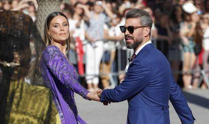 Lorena Gómez y René Ramos, en la boda de Pilar Rubio y Sergio Ramos, en junio en Sevilla.