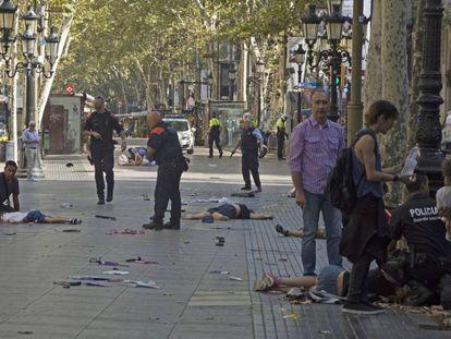 Víctimas del atentado de Barcelona, el pasado 17 de agosto.