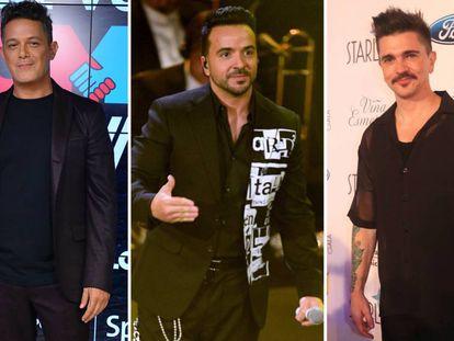 De izquierda a derecha: Alejandro Sanz, Luis Fonsi y Juanes.