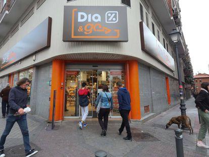 Tienda de la cadena Dia, hoy en Madrid.