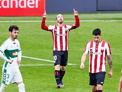 Muniain celebra el gol del triunfo del Athletic