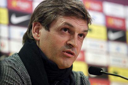 Tito Vilanova, durante la rueda de prensa
