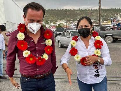 Sandra Nelly Cadena en un acto de campaña en 2021