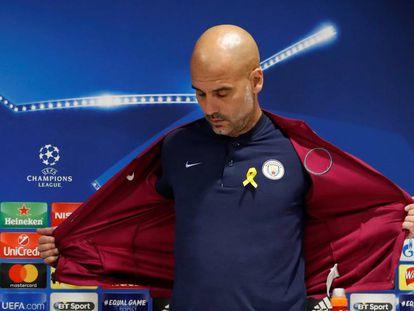 Pep Guardiola en la conferencia de prensa previa al partido entre Liverpool y Manchester City.