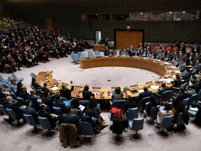 Los miembros del Consejo de Seguridad de las Naciones Unidas durante una reunión del Consejo de Seguridad en Nueva York.