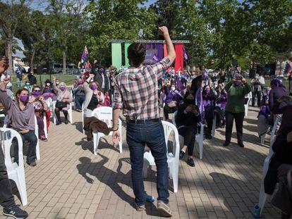 Mitin del candidato de Pablo Iglesias en el barrio de Usera.