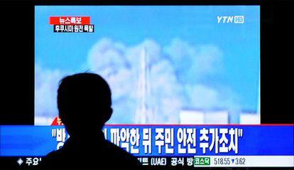 Imágenes dada por la televisión japonesa de la explosión en una de las plantas de Fukushima