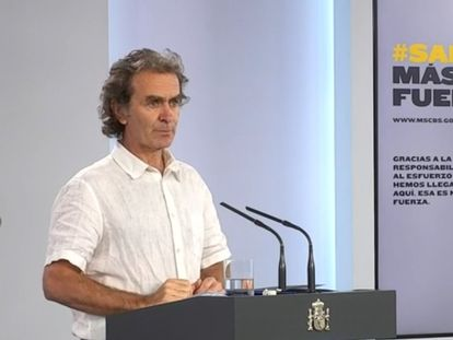 Fernando Simón, durante la rueda de prensa de este lunes.