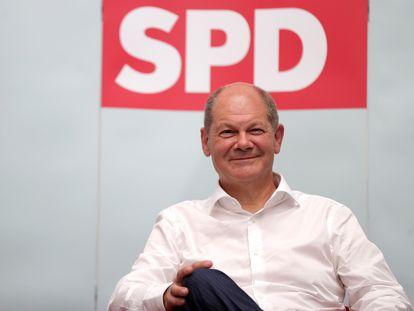 El ministro alemán de Finanzas y candidato del SPD a la cancilleria, Olaf Scholz, en un acto en Ahlen este viernes.