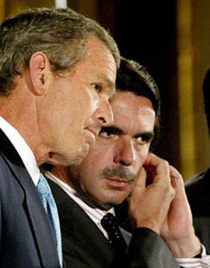 George W. Bush y José María Aznar, en la Casa Blanca en mayo de 2002.