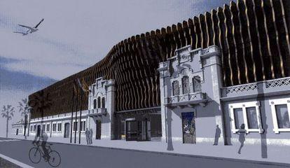 Recreación de la fachada principal de lo que podría ser una nueva subse del del Hermitage en la Barceloneta.
