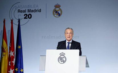 El presidente del Real Madrid, Florentino Pérez, durante la Asamblea de Compromisarios de este domingo.
