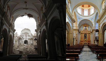 La iglesia de Santiago, en Lorca (Murcia), tras el terremoto y después de la restauración.