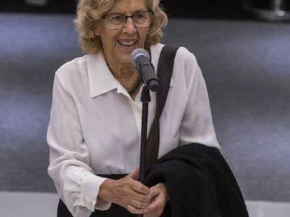 La alcaldesa de Madrid Manuela Carmena en la Feria Internacional del Libro de Guadalajara 2017.