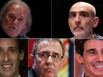 De iquierda a derecha y de arriba abajo: Lluís Homar, Alfredo Sanzol, Rubén Olmo, Félix Palomero y Joaquín de Luz.