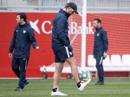 Julen Lopetegui, en el entrenamiento del Sevilla.