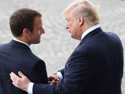 Macron despide a Trump, tras el desfile del Día de la Bastilla, en París el 14 de julio.