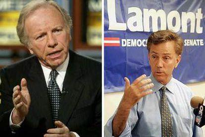 El senador demócrata Joseph Lieberman (izquierda) y su rival político, el empresario Ned Lamont.