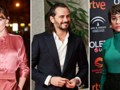 Los actores Marta Nieto, Asier Etxeandia y Greta Fernández.