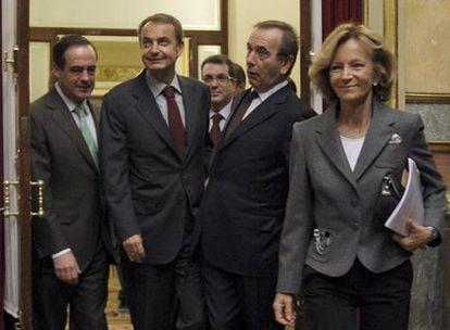 José Bono, José Luis Rodríguez Zapatero, José Antonio Alonso y Elena Salgado, en el Congreso.