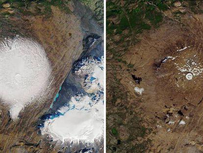 En foto, imágenes de satélite de la NASA del glaciar Ok en septiembre de 1986 (i.) y el pasado 1 de agosto. En vídeo, imágenes del evento en el que se ha instalado una placa conmemorativa.