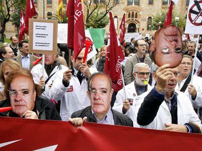 Manifestación contra los recortes en Cataluña.