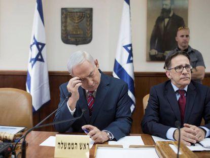 El primer ministro israelí, Benjamín Netanyahu, en la reunión del Gobierno del domingo