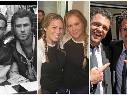 De izquierda a derecha: los actores Chris Hemsworth, Amy Schumer y Mark Ruffalo, con sus dobles.