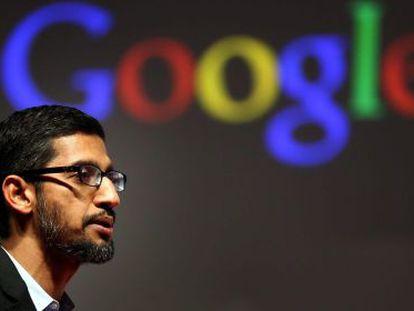 El vicepresidente de Google y responsable de Android en el buscador, Sundar Pichai, ayer en el Congreso Mundial de Móviles de Barcelona.