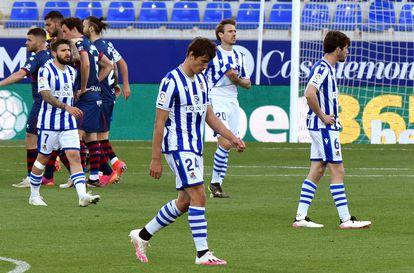 Portu, LeNormand, Monreal y Elustondo, tras encajar el gol de Sandro.