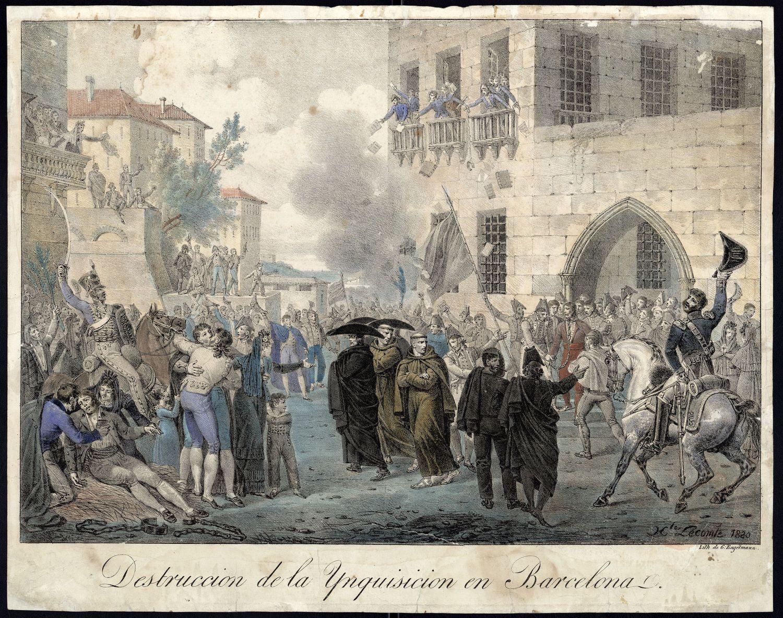 El asalto al palacio de la Inquisición, según un grabado del francés Hippolyte Lecomte, del mismo 1820.