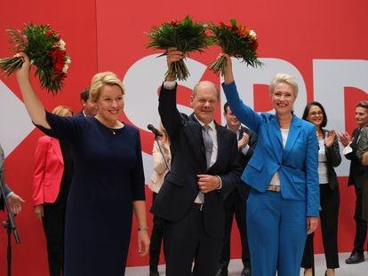 Olaf Scholz, candidato del SPD, este lunes, en la sede del partido.