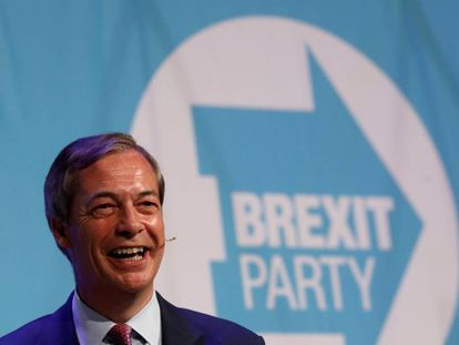 El líder del Brexit Party, Nigel Farage, el martes en Peterborough.