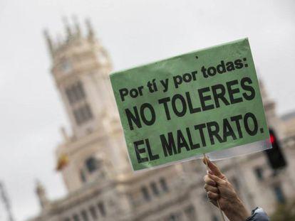 Imagen de una pancarta de la manifestación contra la violencia de género, el 25 de noviembre de 2019, en Madrid.