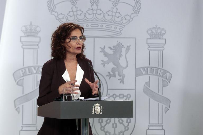 La ministra de Hacienda y portavoz del Gobierno, María Jesús Montero, este martes durante la rueda de prensa tras el Consejo de Ministros.