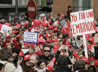 Manifestantes antiabortistas el domingo pasado en Madrid.
