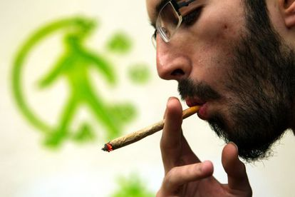 Un miembro de la Asociación Barcelonesa Cannabica de Autoconsumo fumando un cigarrillo de marihuana.