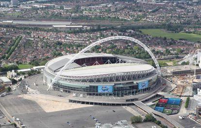 Vista aérea del estadio de Wembley, en Londres.