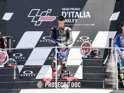 Oliveira, Quartararo y Mir en el podio del GP de Italia.
