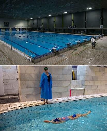 Arriba, la piscina Sant Jordi, cerrada al público. Abajo, Paloma da clases de natación a Daniela en el gimnasio Arian en Madrid.