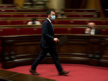 El president en funciones, Pere Aragonès, durante su comparecencia en la Diputación Permanente del Parlament