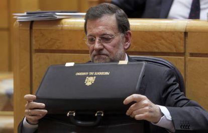 El presidente del Gobierno, Mariano Rajoy, en el Senado el pasado abril.