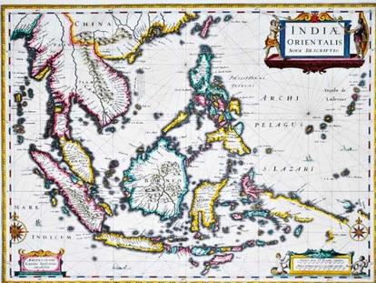 Mapa holandés de Johannes Janssonius. 'Indiae Orientalis Nova descriptio'.
