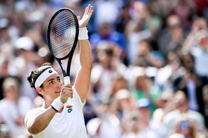 Jabeur celebra su victoria contra Muguruza en la tercera ronda de Wimbledon.
