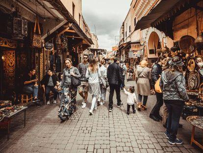 Puestos del zoco de Marrakech.