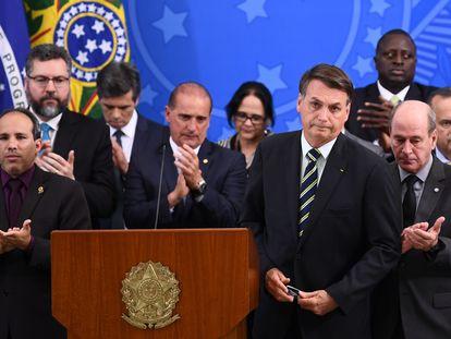 El presidente Jair Bolsonaro, durante una conferencia este viernes tras la dimisión de Moro.
