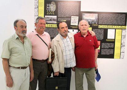 De izquierda a derecha, Francisco Acosta, Pedro Santisteban, Eduardo Saborido y Fernando Soto, sindicalistas condenados en el Proceso 1001, fotografiados el lunes en la exposición dedicada a su memoria