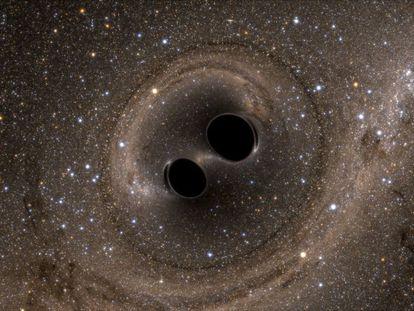 Imagen de la colisión de los dos agujeros negros, en una simulación por ordenador.