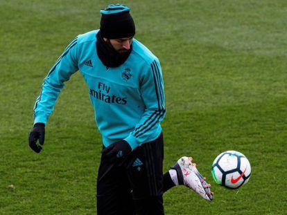 Karim Benzema, en el entrenamiento del viernes.