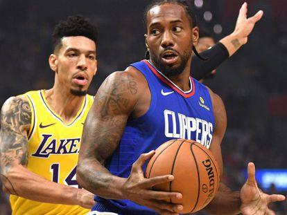 Kawhi Leonard y Danny Green, en el Clippers-Lakers.